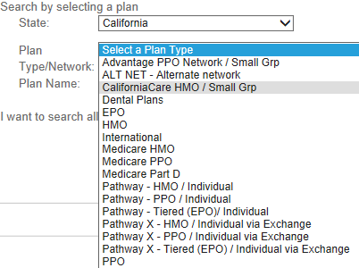 select the correct provider list